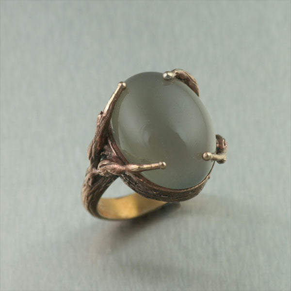 Bronze Tree Branch Ring with Grey Moonstone