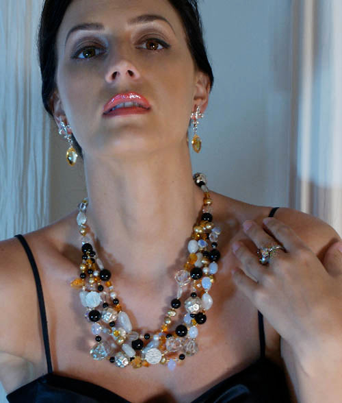 Model Apryl Orr wears Moonstone Onyx Citrine Necklace from the Barbary Coast Collection.