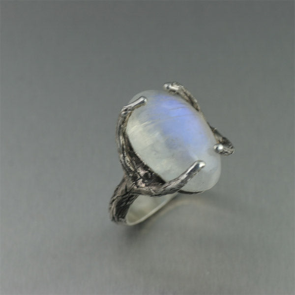 Sterling Silver Tree Branch Ring with White Moonstone