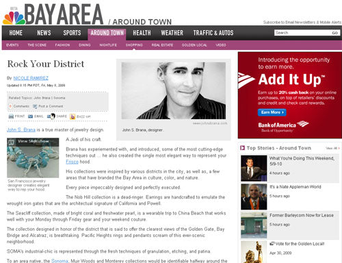 NBC Bay Area Features San Francisco Jewelry Designer John S. Brana - Rock Your District