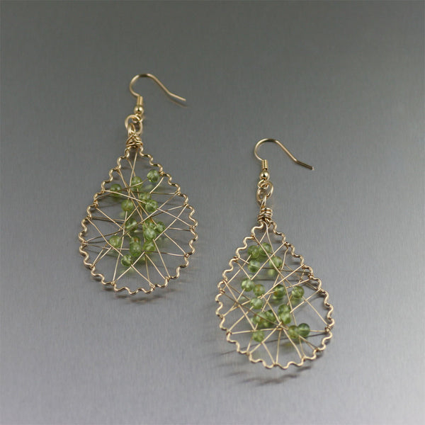 Nu Gold Wire Wrapped Peridot Earrings