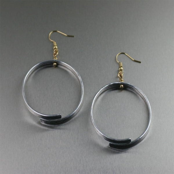 Oval Aluminum Bark Hoop Earrings