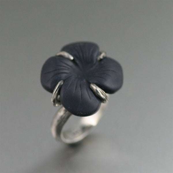 Oxidized Sterling Silver Onyx Dogwood Ring