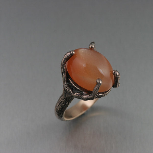 Bronze Tree Branch Ring with Peach Moonstone