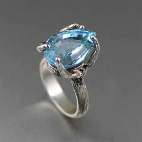 Pear Cut Swiss Blue Topaz Sterling Silver Cocktail Ring