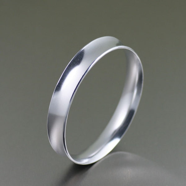 Polished Aluminum Bangle Bracelet – Left Side View