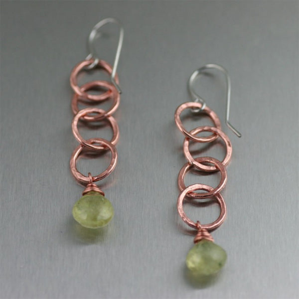 Prehnite Hammered Copper Chandelier Earring