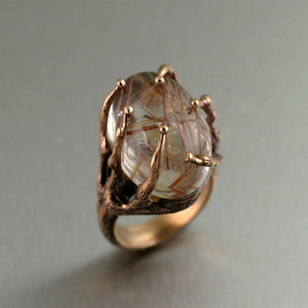 ronze Rutilated Quartz Cocktail Ring by San Francisco jewelry designer John S Brana