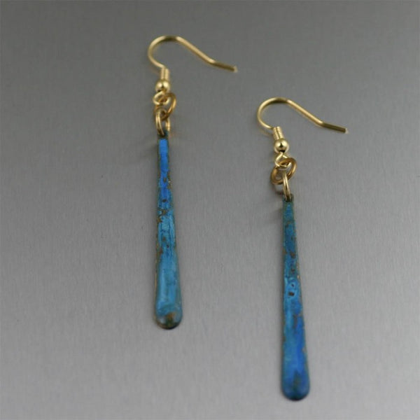Small Blue Patinated Copper Tear Drop Earrings