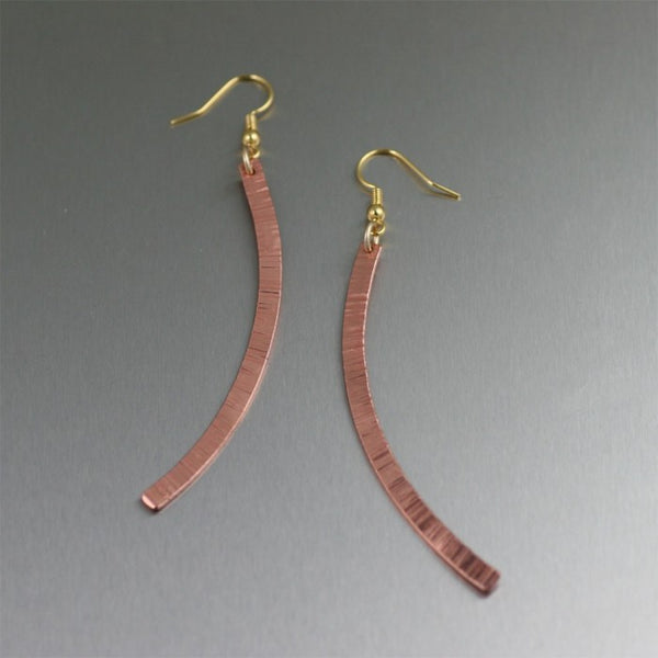 Small Chased Copper Drop Earrings