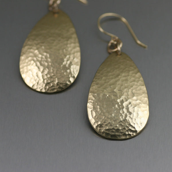 Small Hammered Nu Gold Brass Tear Drop Earrings – Detail