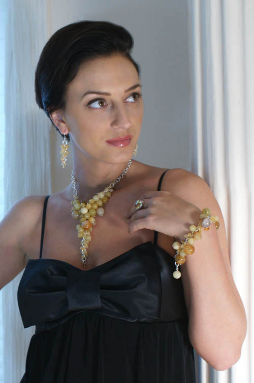 Yellow Jade Sterling Silver Chainmail necklace, earrings, and bracelet from the Sonoma Collection by San Francisco jewelry designer John S Brana
