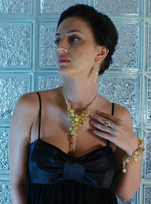Yellow Jade Necklace, Bracelet, and Earrings on Sterling Silver chainmail by San Francisco jewelry designer John S Brana