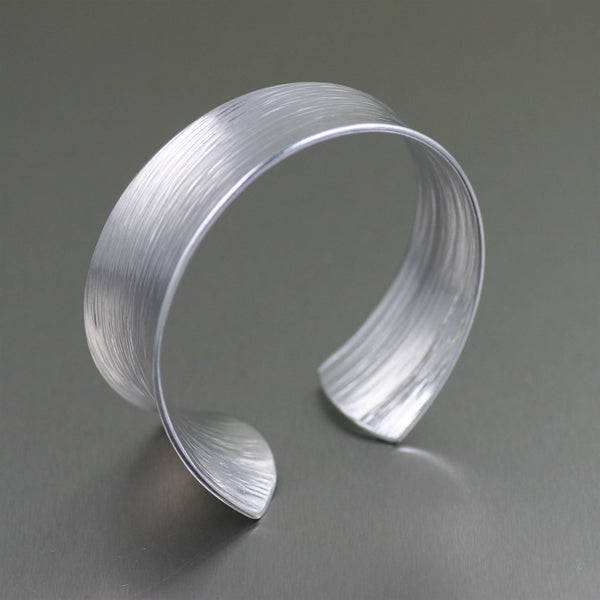 Tapered Bark Anticlastic Aluminum Bangle Bracelet – Left Side View