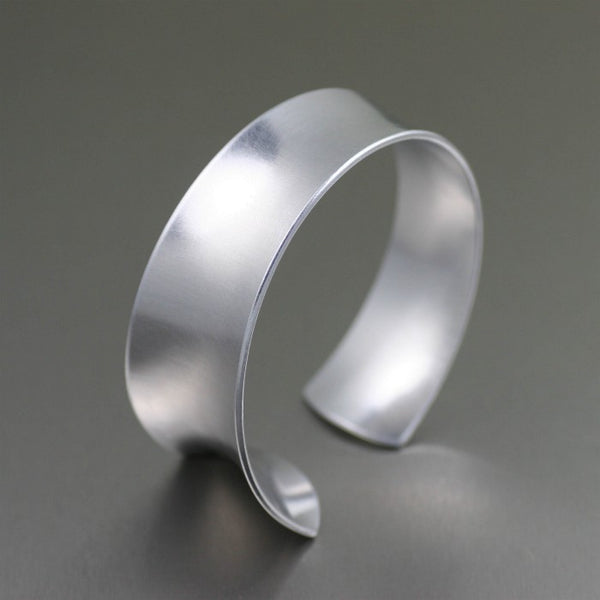 Tapered Brushed Anticlastic Aluminum Bangle Bracelet – Left Side View