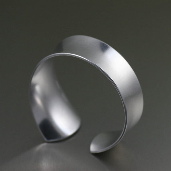 Tapered Brushed Anticlastic Aluminum Bangle Bracelet – Right Side View