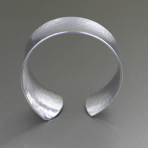 Tapered Hammered Anticlastic Aluminum Bangle Bracelet - Front View