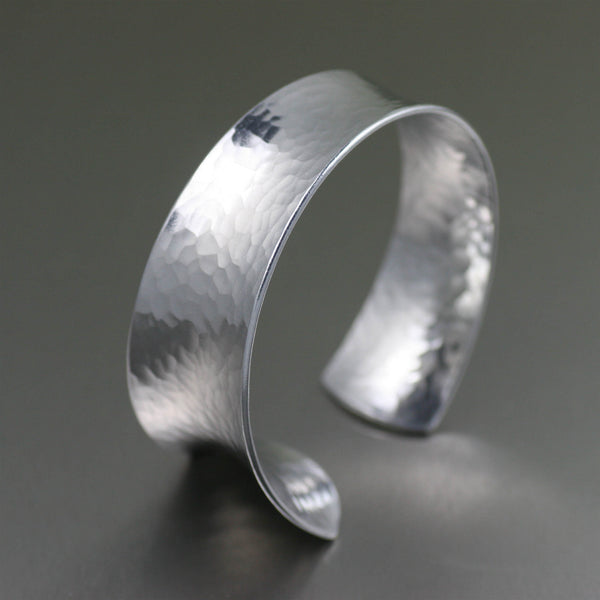 Tapered Hammered Anticlastic Aluminum Bangle Bracelet - Left Side View