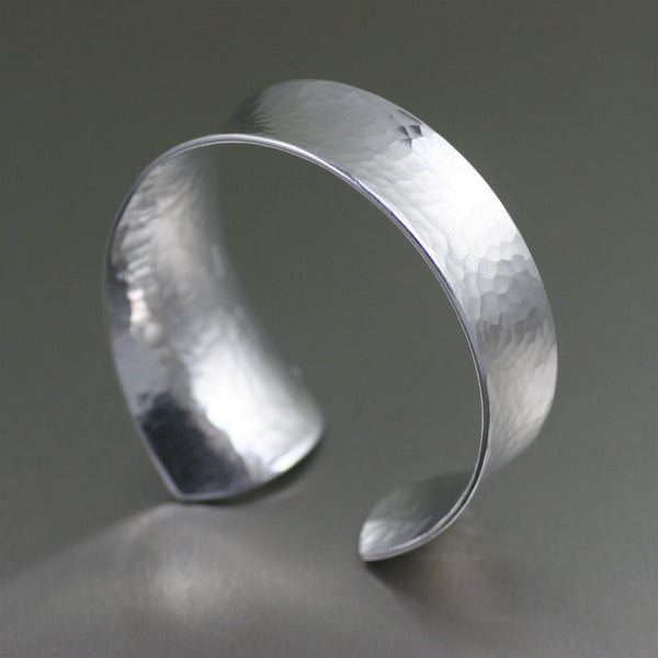 Tapered Hammered Anticlastic Aluminum Bangle Bracelet - Right Side View