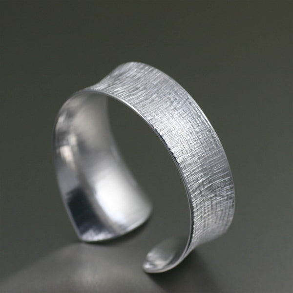 Tapered Linen Anticlastic Aluminum Bangle Bracelet – Right Side View