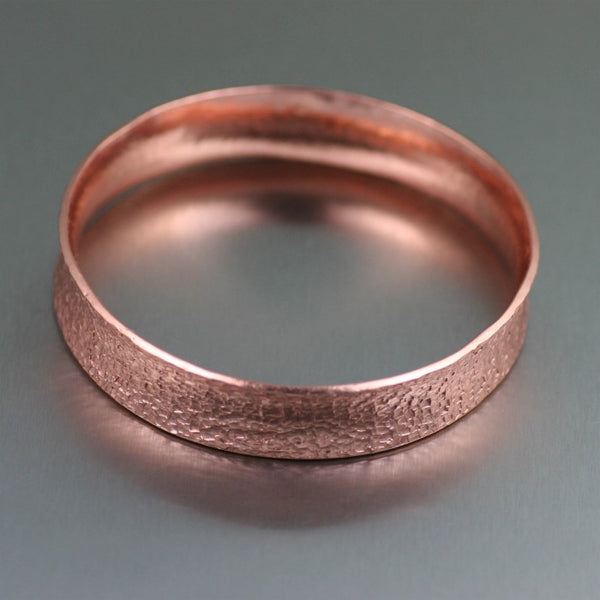 Texturized Anticlastic Copper Bangle Bracelet – Laying Flat View