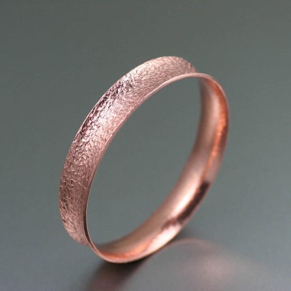 Texturized Anticlastic Copper Bangle Bracelet – Left Side View