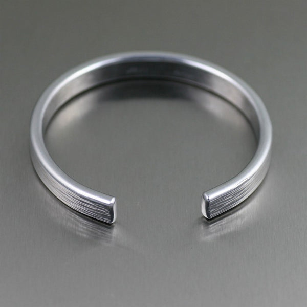 Thin Bark Aluminum Cuff Bracelet – Laying Flat View