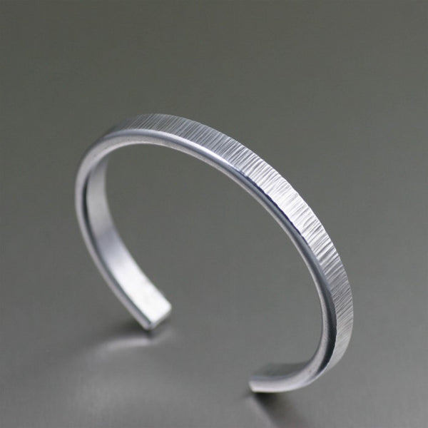 Thin Chased Aluminum Cuff Bracelet – Right View