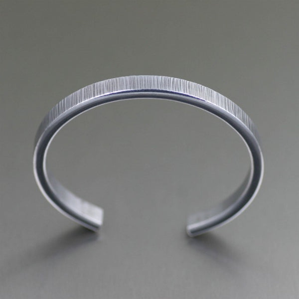 Thin Chased Aluminum Cuff Bracelet – Top View