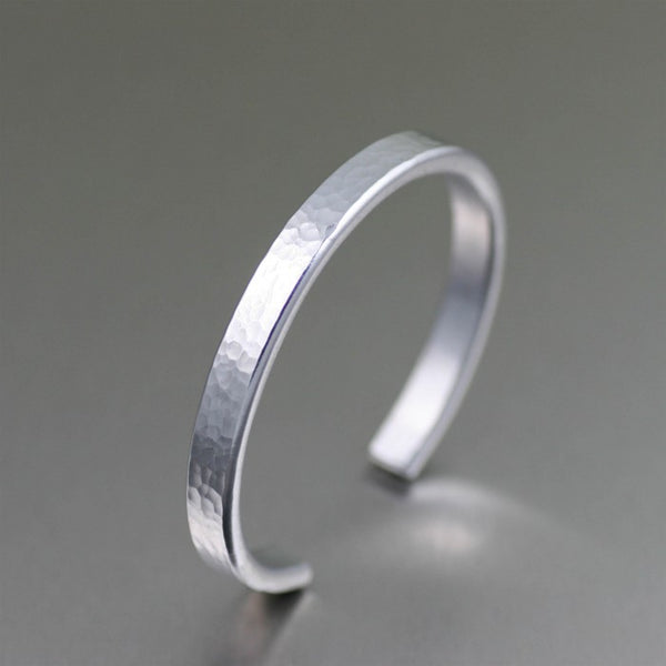 Thin Hammered Aluminum Cuff Bracelet – Left View