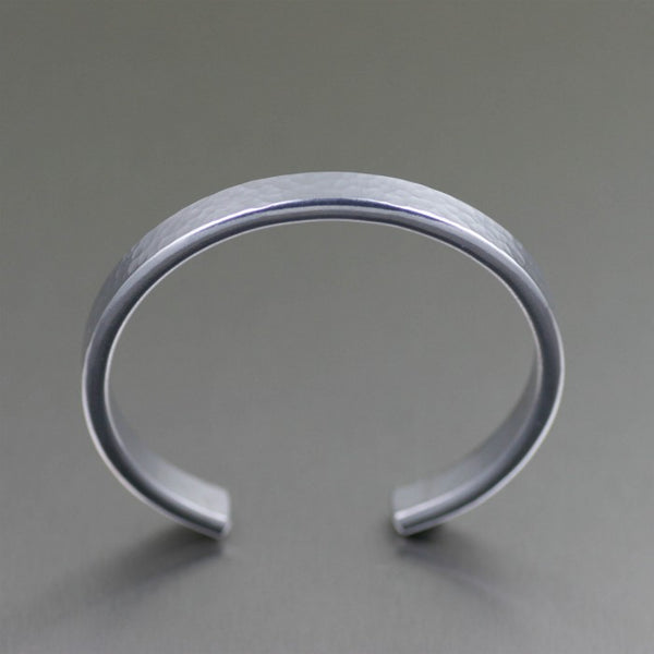 Thin Hammered Aluminum Cuff Bracelet – Top View
