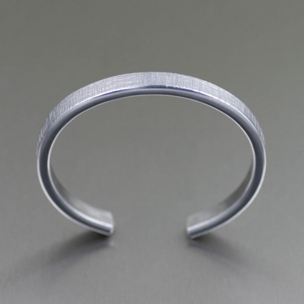 Thin Linen Aluminum Cuff Bracelet – Top View