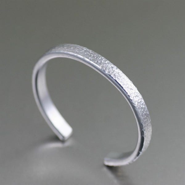 Thin Texturized Aluminum Cuff Bracelet – Right Side View
