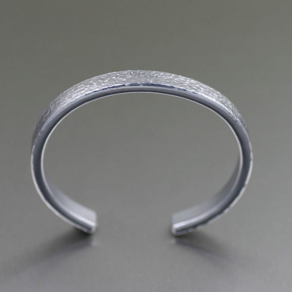 Thin Texturized Aluminum Cuff Bracelet – Top View