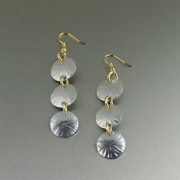 Three Tiered Aluminum Sand Dollar Earrings