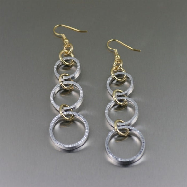 Three Tiered Chased Aluminum Dangle Earrings