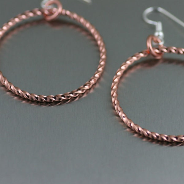 Twisted Copper Cable Hoop Earrings -Detail