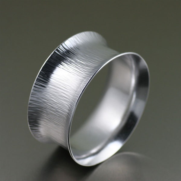 Wide Chased Aluminum Bangle Bracelet – Left View