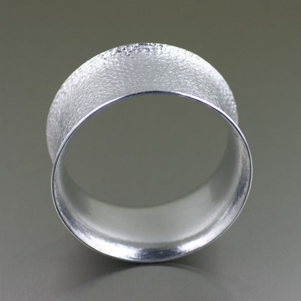 Wide Texturized Aluminum Bangle Bracelet – Front View