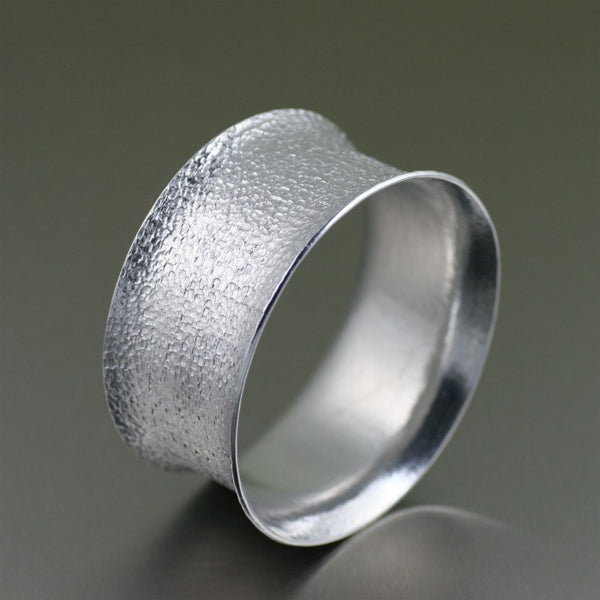 Wide Texturized Aluminum Bangle Bracelet – Left Side View