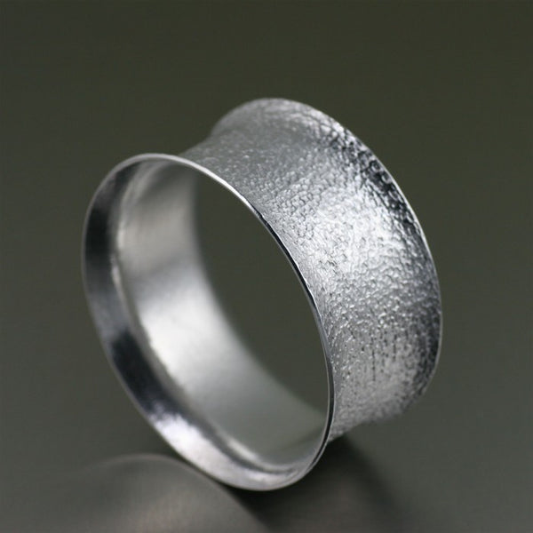 Wide Texturized Aluminum Bangle Bracelet – Right Side View