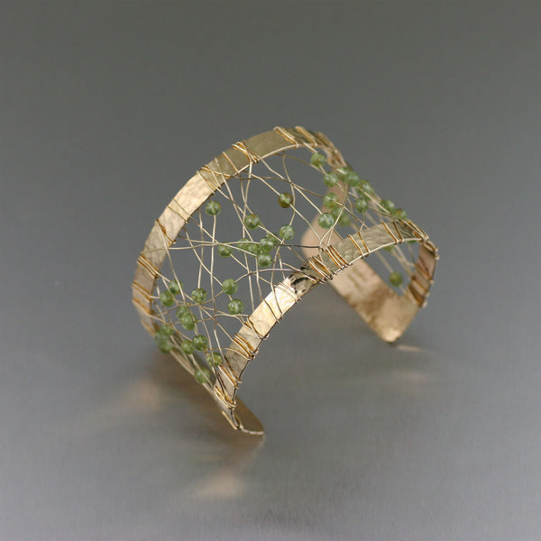 Wire Wrapped Nu Gold Bass Cuff with Peridot