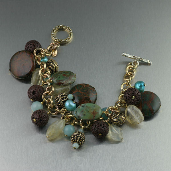 African Opal Citrine October's Birthstone Gemstone Bracelet