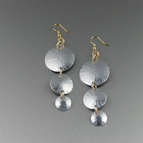 Aluminum Three-tiered Sand Dollar Chandelier Earrings