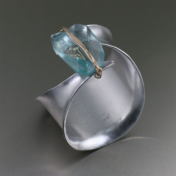 Brushed Aluminum Anticlastic Bangle Bracelet with Blue Quartz