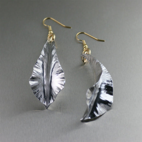 Fold Formed Aluminum Leaf Earrings