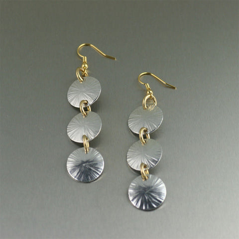 Three Tiered Aluminum Sand Dollar Chandelier Earrings