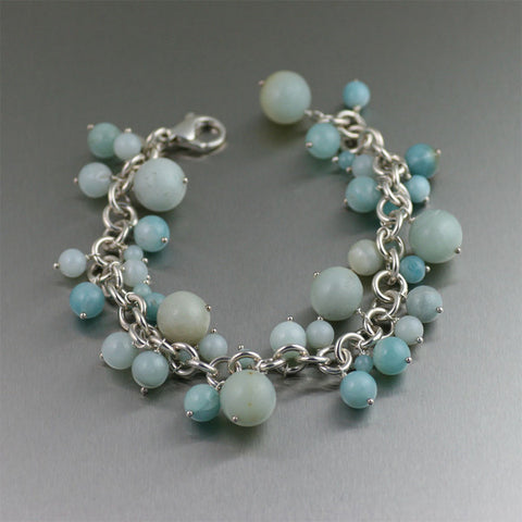 Sterling Silver Chainmail Bracelet with Amazonite