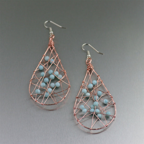 Copper Wire Wrapped Tear Drop Earrings with Amazonite