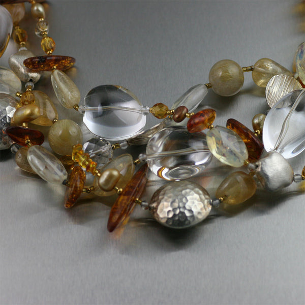 Amber Citrine Crystal Quartz Beaded Gemstone Necklace - Closeup
